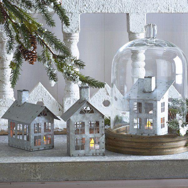 Winter Village Tealight Houses Set Of 3 Antique Farmhouse Winter Decor Country House Decor Farmhouse Christmas