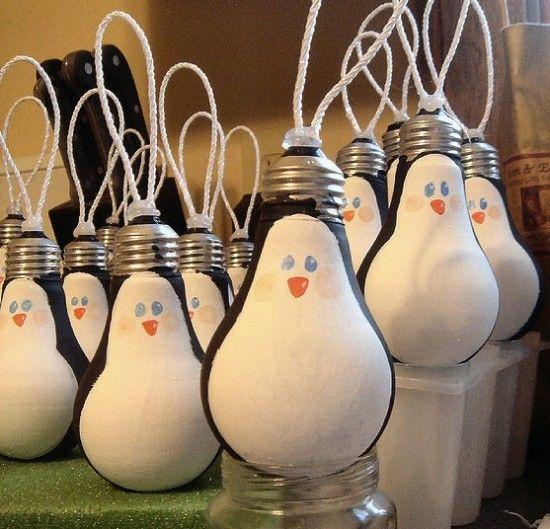 Definately doing this next Christmas. Gotta get rid of those old lightbulbs!   Light Bulb Ornaments