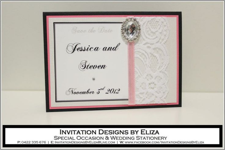 Save the Date Designs  {Wedding} Pink, White & Silver Theme www.facebook.com/InvitationDesignsByEliza
