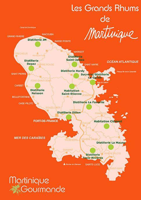 Carte des distilleries en Martinique