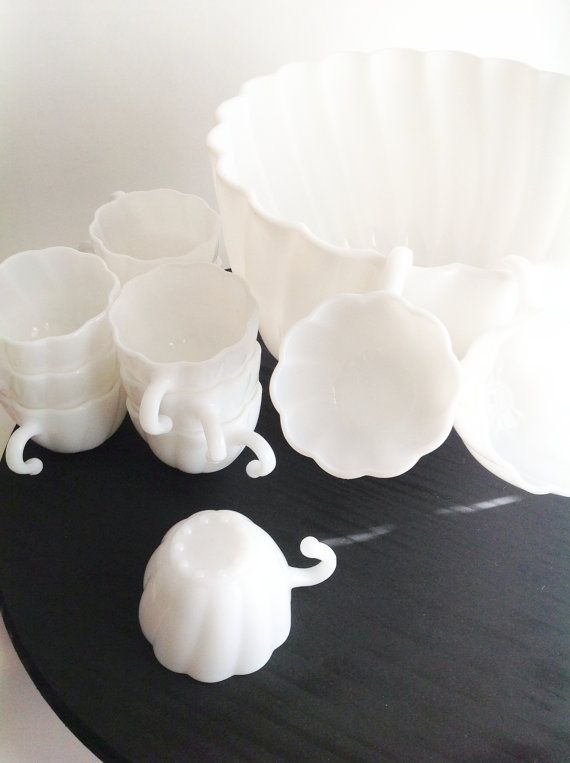 Vintage Milk Glass Punchbowl12 cups and 1 by seedlingplantation