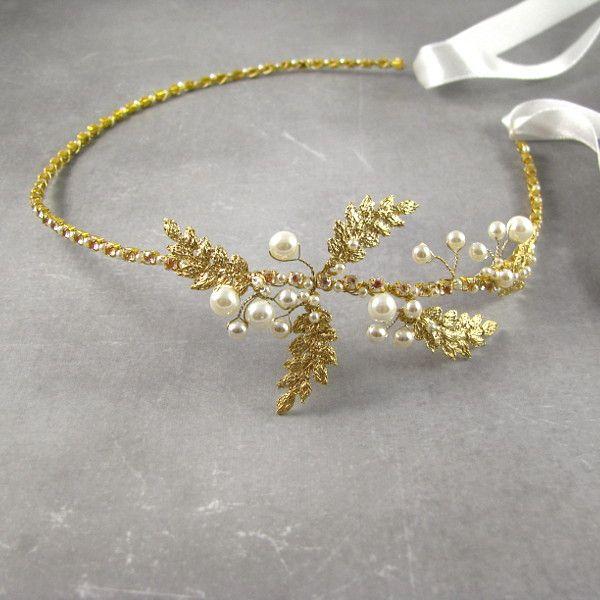 Bocho - złote listki z perłami