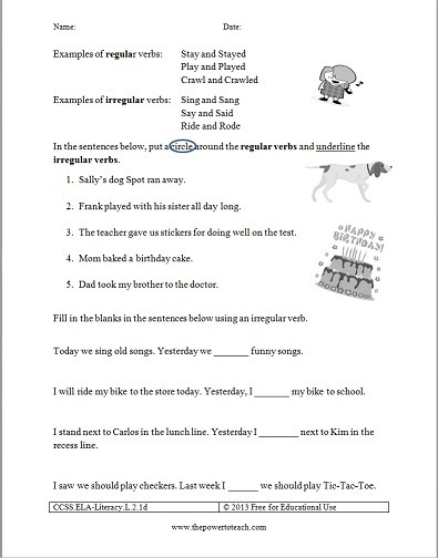 Free irregular verbs worksheet for second grade.  Common Core standard: CCSS.ELA-Literacy.L.2.1d Form and use the past tense of frequently occurring irregular verbs (e.g., sat, hid, told)