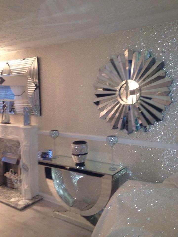 Beautiful Crystal Ivory White Glitter Wallpaper Fabric Backed 20 Metre
