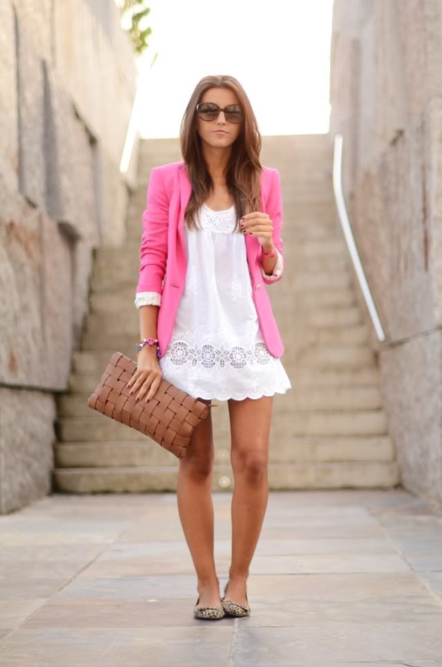 Hair color. Pink blazer & white dress. Love: Summer Dress, Fashion, Summer Outfit, Style, Dresses, White Dress, Pink Blazers