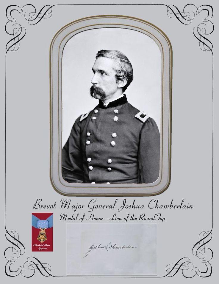 Civil War Union Brevet Major General Joshua Chamberlain portrait & autograph in Collectibles, Autographs, Historical   eBay