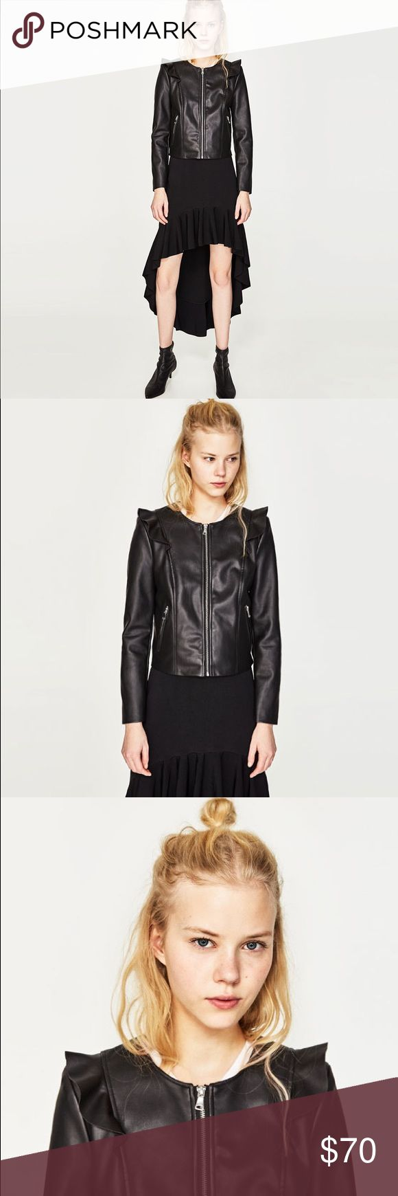 🆕🎉Black Faux Leather With Frills Jacket Super unique and trendy Faux leather jack by Zara. Look amazing in this jacket. Add a statement piece to your outfit with this beautiful and great quality jacket. Zara Jackets & Coats