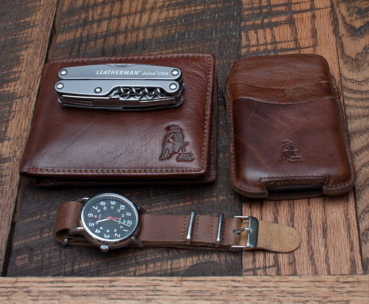 Timex Weekender with leather NATO strap     Leatherman Juice     Custom Leather wallet and iphone case