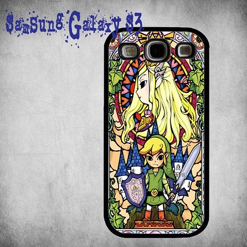 The Legend Of Zelda Link Stained Glass Print On Hard Plastic Samsung Galaxy S3, Black Case