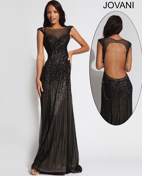 Now $335.99 Jovani 89642 Prom Pageant Black Beaded Dress ...