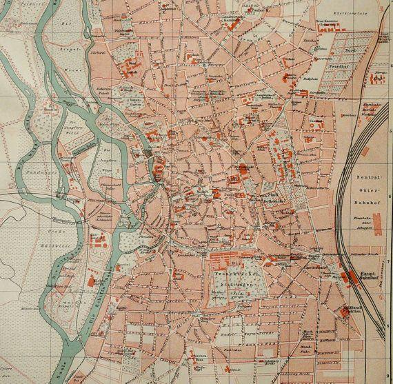 1897 antiker Stadtplan von HALLE Deutschland. von AntiquePrintsOnly