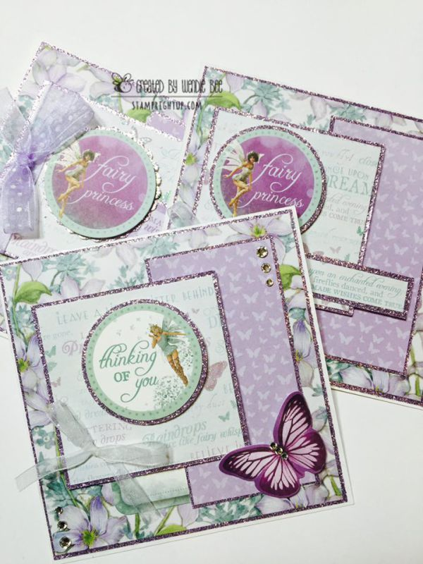 Kaisercraft Fairydust Fairy Handmade Lavender Purple Glitter square card…