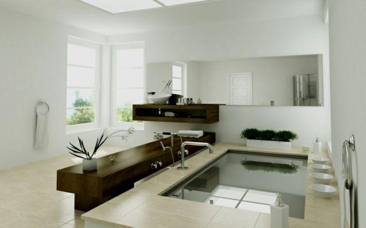 Luxusbad neutrale Farbgestaltung riesige Badewanne