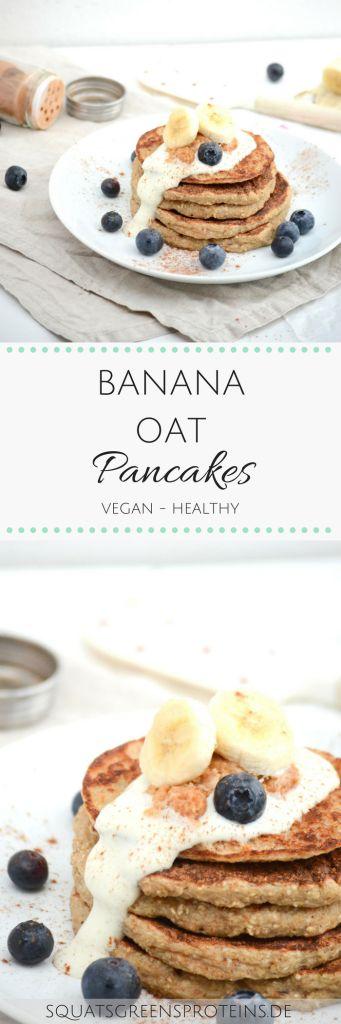 Healthy, Vegan Banana Oat Pancakes - Vegane gesunde Bananen Pfannkuchen Hafer - gluten free glutenfrei lactose free laktosefrei - Squats, Greens & Proteins