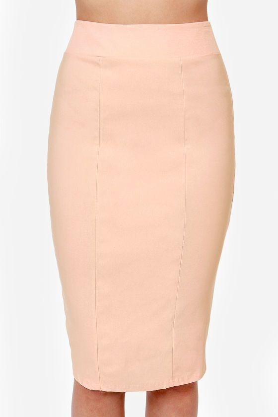 Midi Madness Peach Midi Skirt