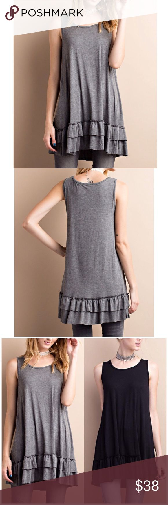 Gray Sleeveless Double Ruffle Tunic Top Gray Sleeveless round neck. Soft heavy rayon/ spandex material. Loose fit flow tunic with double ruffle. 95% rayon, 5% spandex.   Fits true to size.. available in black also B Chic Boutique Tops Tunics