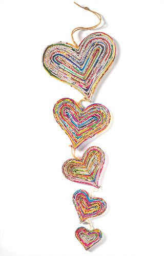 Recycled paper decoration, 5 hanging hearts