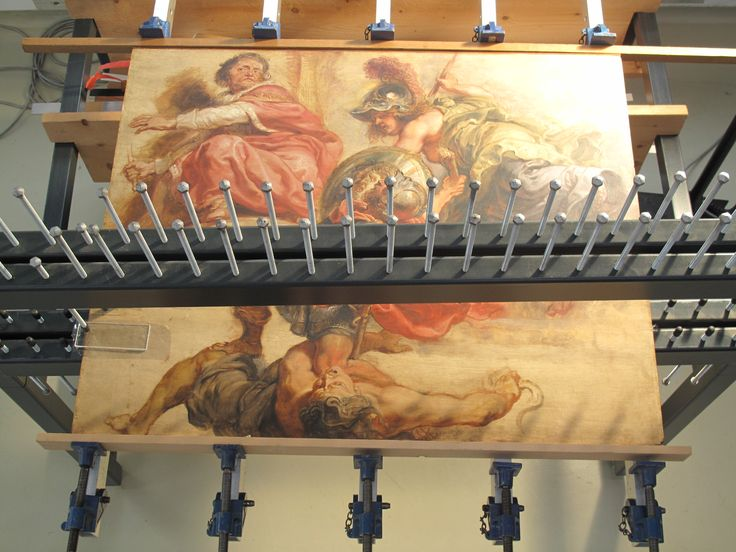 MRBAB Brussels, Rubens on gluing table, with fish skin glue