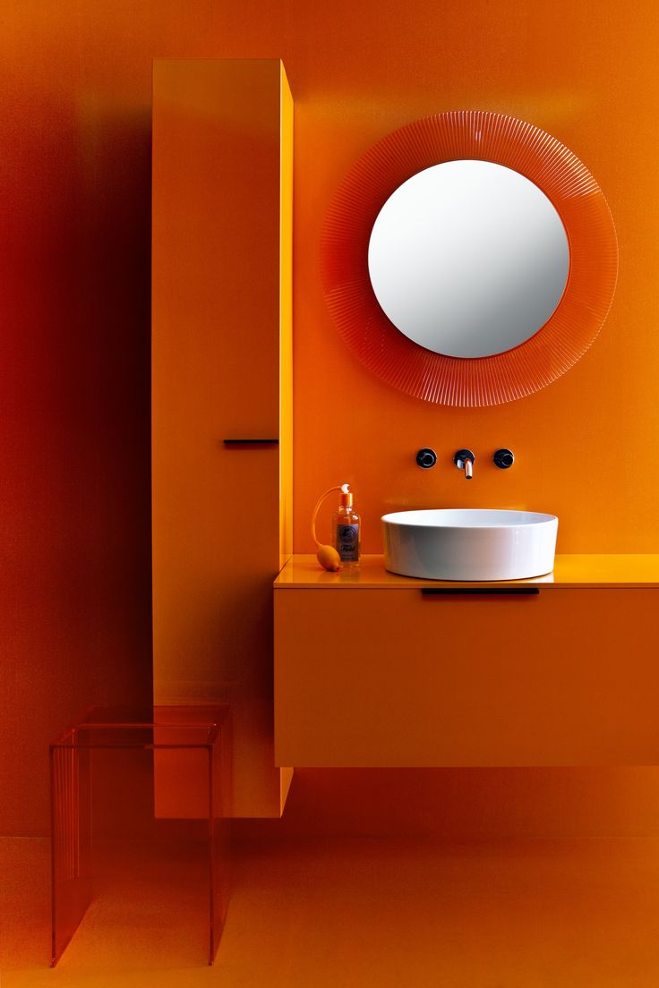 Combine different colours, forms and surfaces in your #Laufen Bathrooms. #Kartell