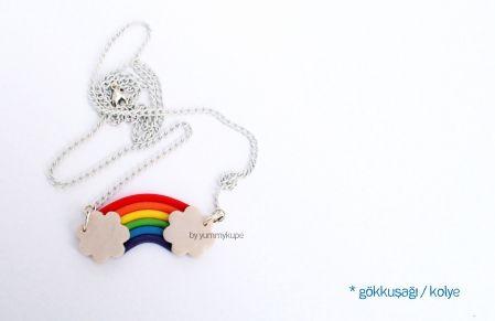 Gökkuşağı / kolye  #fashion #design #miniature #food #art #miniaturefoodart #polymerclay #clay #minyatur #polimerkil #kil #nutella #tasarim #taki #sanat #moda #sokak #tutorial #yummykupe #mold #kalip #nasil #bileklik #kolye #kupe #yuzuk #aksesuar #kadin #ring #earring #accesorie #necklace #rainbow