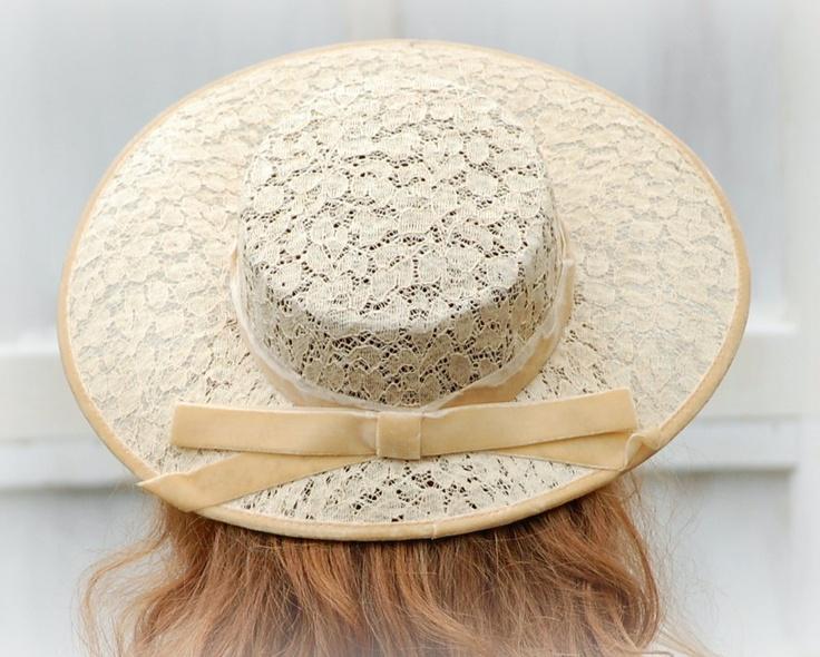 1950s Wide Brim Vintage Lace Hat  Wedding Hat  Bridal Bridesmaid. $23.00, via Etsy.