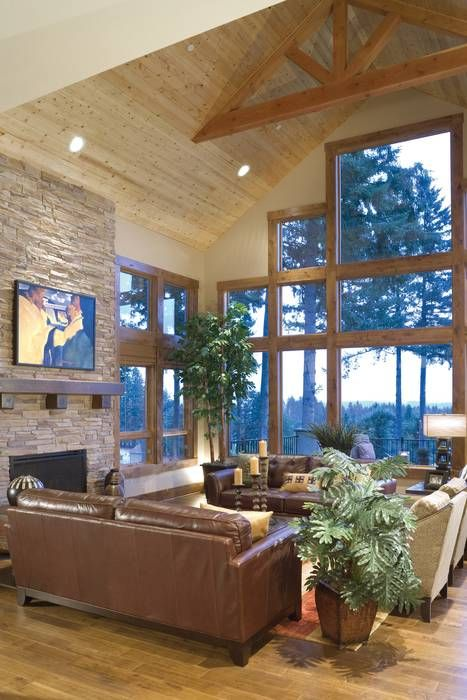 I like the open ceiling! Timber Frame Detailed Ceiling- Plan 1411D -The Timbersedge I like those windows.
