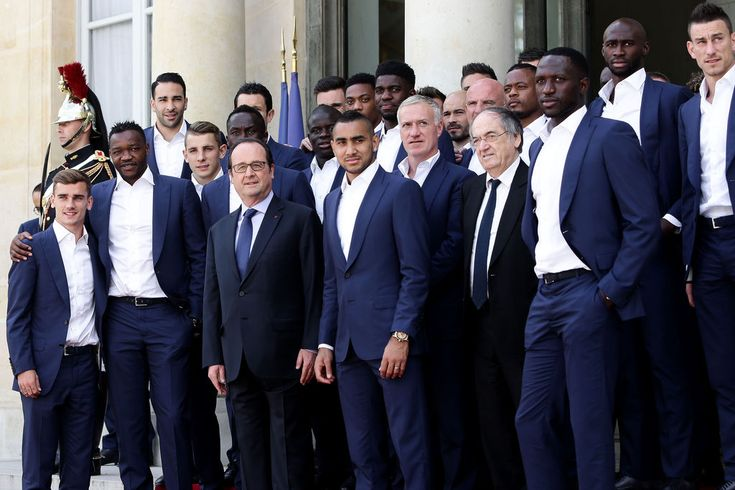 Antoine Griezmann, Steve Mandanda, Adil Rami, Lucas Digne, Bacary Sagna, François Hollande, N'Golo K