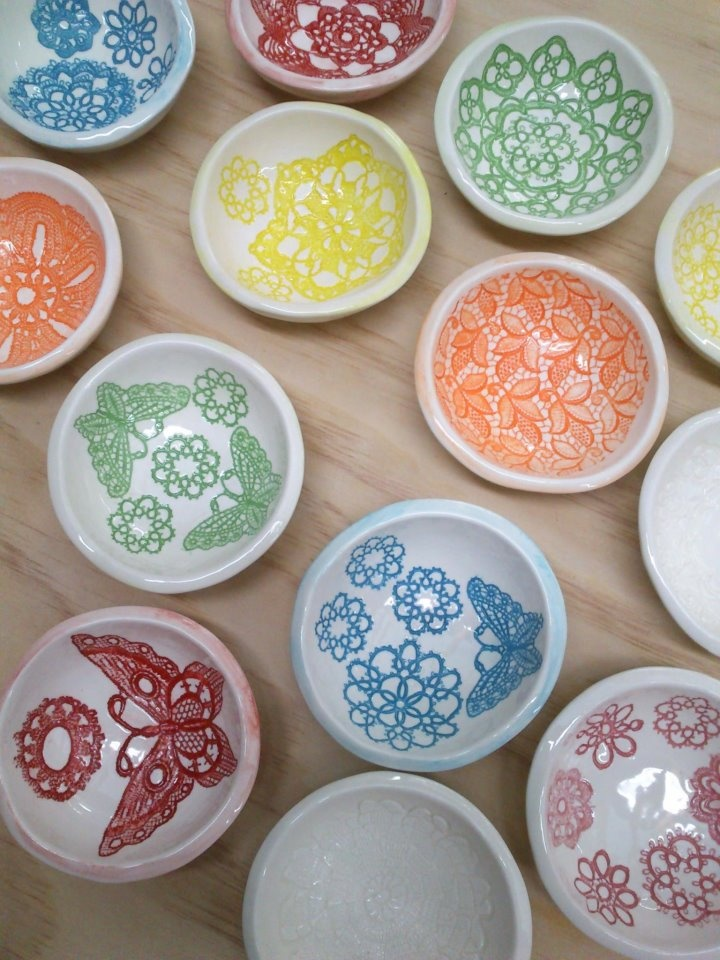 Multi coloured Lace Bowls by Borrowed Earth with lace designs $25 11cm round