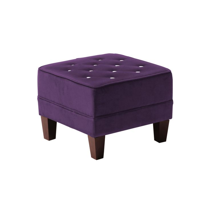 Chesterfield footstool purple velvet diamante detail for Chaise diamante