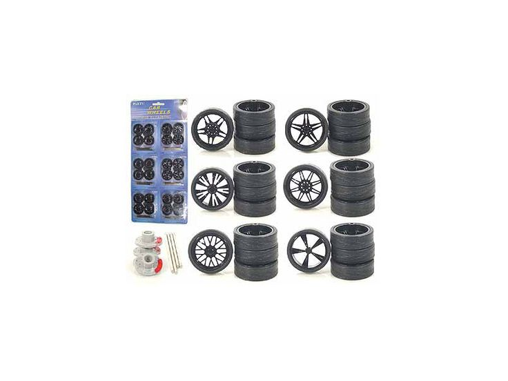 Other Custom Wheels for 1/24 Scale Cars and Trucks 24pc Wheels & Tires Set - Rubber Tires. Can fit DUB City vehicles. Six different sets of four wheels. This set has 24 rotors, 24 wheels, 24 axles, 24 rims.-Weight: 1. Height: 5. Width: 9. Box Weight: 1. Box Width: 9. Box Height: 5. Box Depth: 5