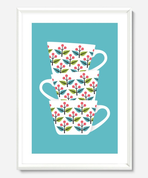 Art Prints : Retro Tea Cups Print
