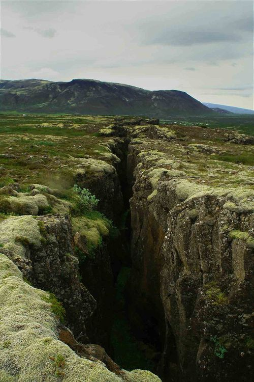 Thingvellir.  This site is in Iceland, where the spreading plates of the mid-Atlantic ridge come ashore.