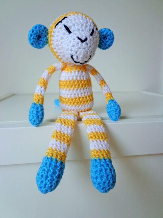 Crochet stripy monkey