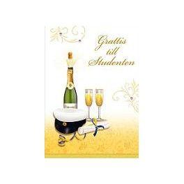 Gratulationskort Design Mössa flaska och glas