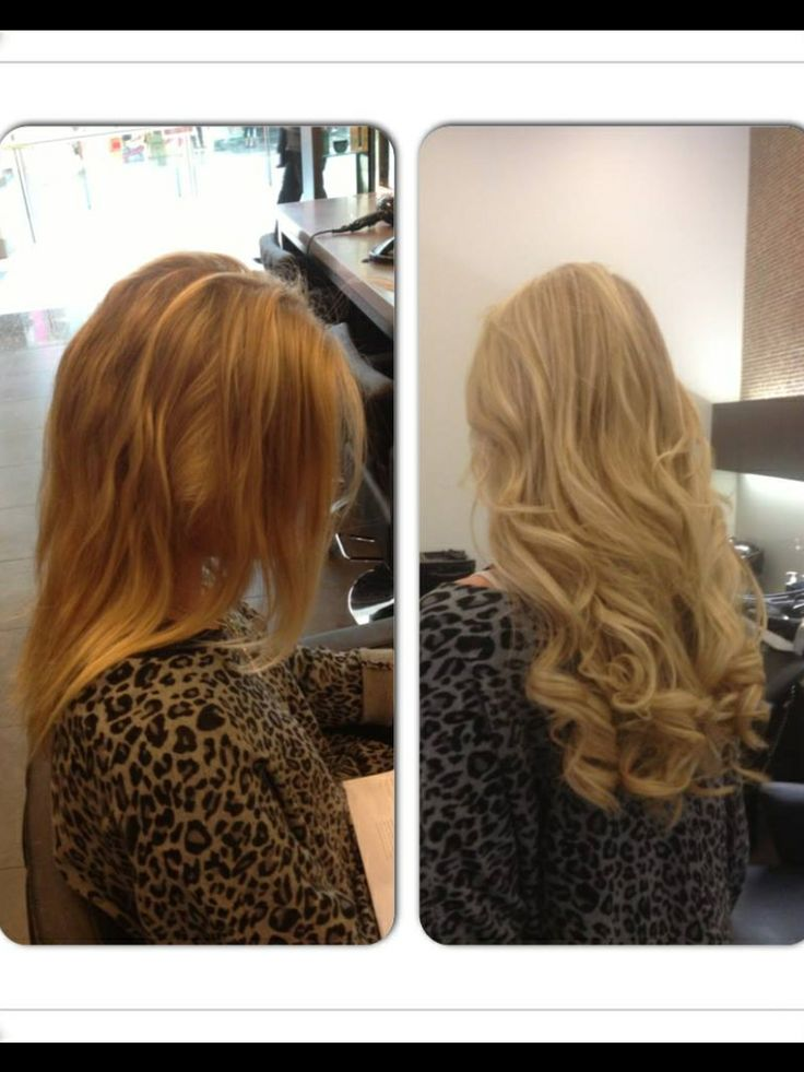 Before & after extensions added for length and thickness