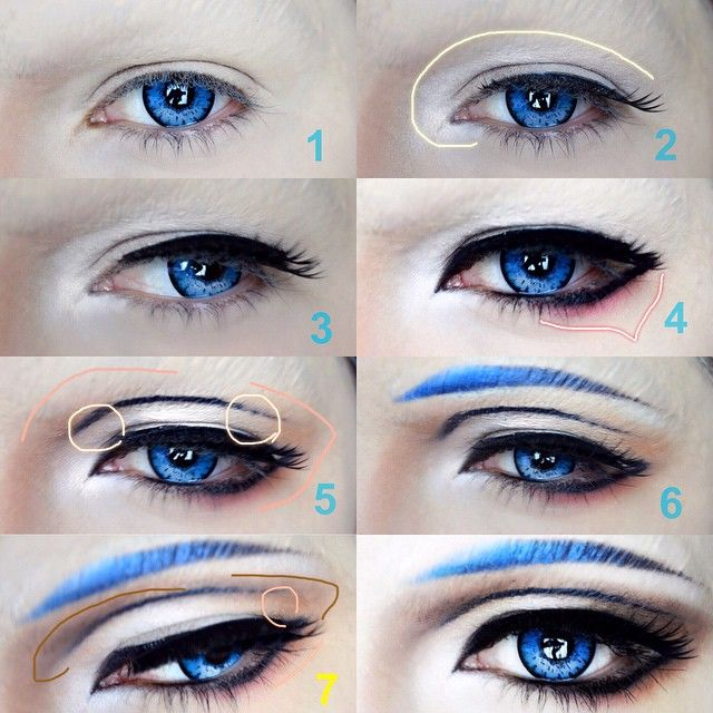 #mikazukimunechika  1⃣cover your eyebrows~ 2⃣use 1 fake eyelashes & apply white eye shadow , don't worry about fallouts. 3⃣apply the second eyelashes and try to open your eyes while applying it this time. 4⃣draw #mikazuki eye shape with black liquid liner then apply red or orange eye shadow then blend it with fluffy brush, don't put too much eyeshadow. 5⃣draw a fake crease with liquid liner first , if you made a mistake use cream concealer, then apply beige eyeshadow on the circled areas