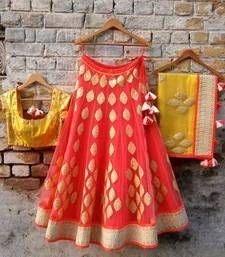 Buy Orange and golden net embroidered unstitched bridal lehengas bridal-lehenga online