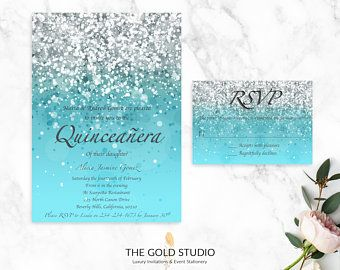Blue Glitter Quinceanera RSVP Cards