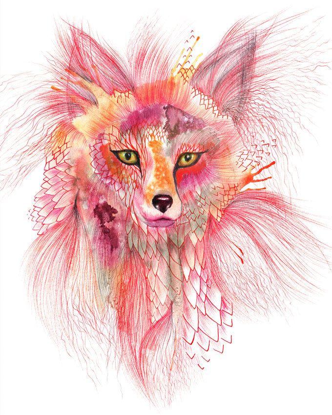 Fox Foxy bont aquarel wild dierlijke kunst door Ola door TevaKiwi