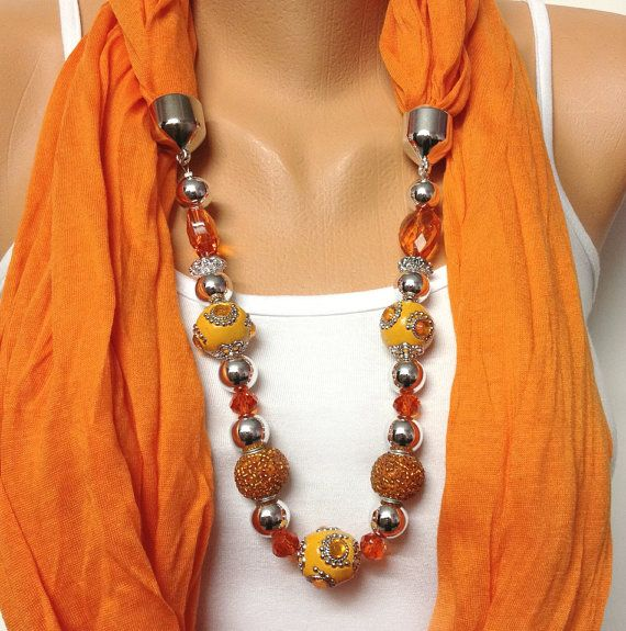 orange infinity jewelry scarf   wrinkle orange scarf by BienBijou