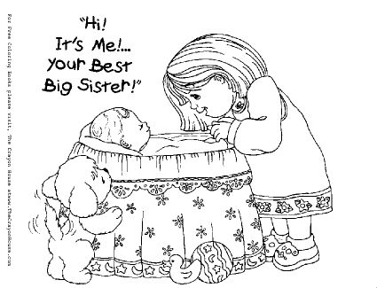 free downloadable coloring pages for big sisters | coloring pages --- To welcome the new baby | Grandchildren ...