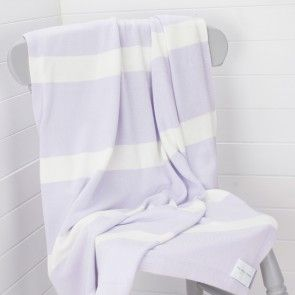 Lilac & White Large Cotton Childrens Blanket