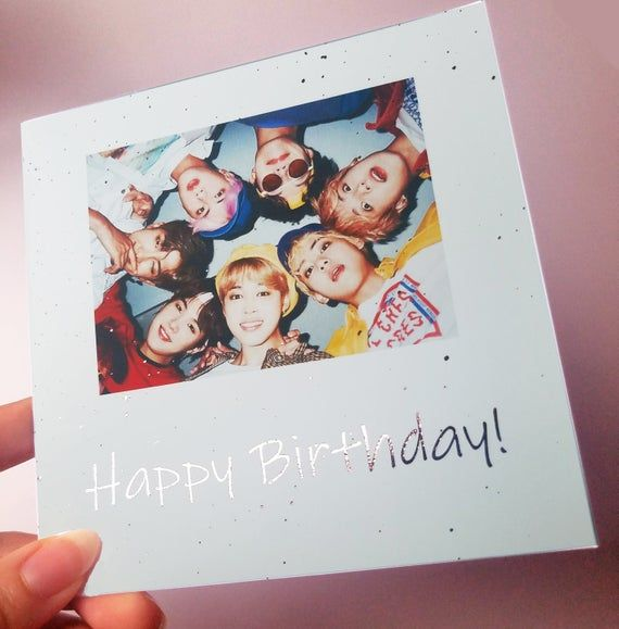 Bts Happy Birthday Foil Customizable Card Rose Gold Pink Bangtan Printed Art Gift Kpop Custom Print Bts Happy Birthday Birthday Card With Photo Bts Birthdays