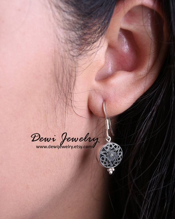 925 Sterling Silver Drum Earring  Dangle Earrings  by DewiJewelry