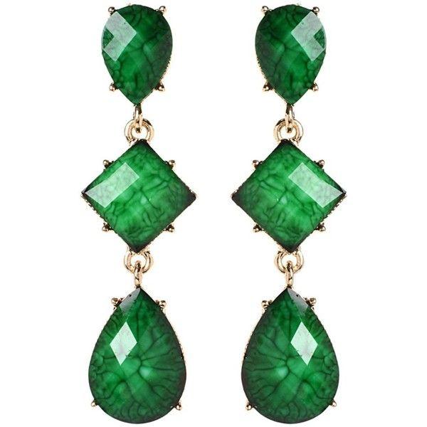 Amrita Singh Amrita Singh Resin 3-Tier Drop Earrings   Bluefly.Com (375 MXN) ❤ liked on Polyvore featuring jewelry, earrings, evergreen, drop earrings, earring jewelry, amrita singh jewellery, post back earrings and amrita singh jewelry