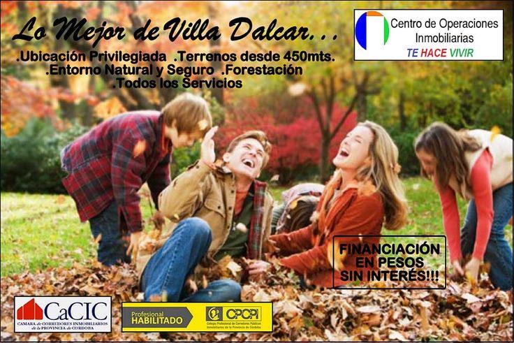 Terrenos en venta: ubicación privilegiada de Villa Dalcar, Río Cuarto. Terrenos desde 450 mts. Entorno natural y seguro. Forestación. Todos los servicios.