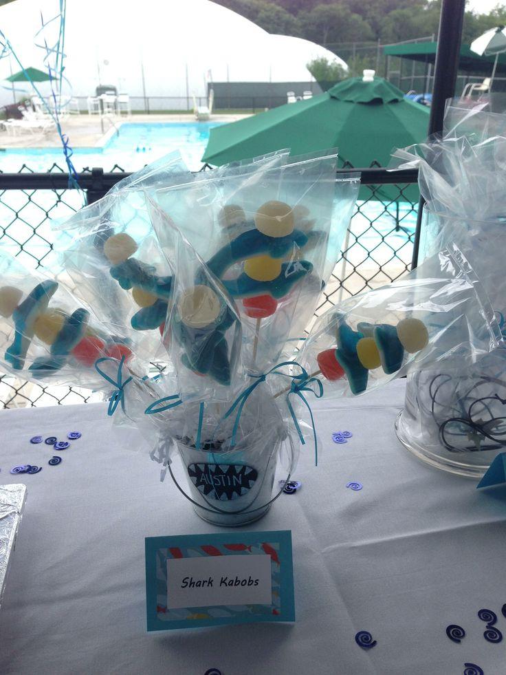 Shark birthday party edibles...shark kabobs!