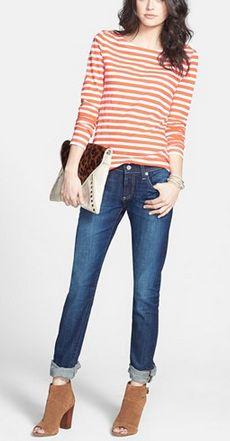 Striped tee + rolled jeans + peep toe booties. @Nordstrom