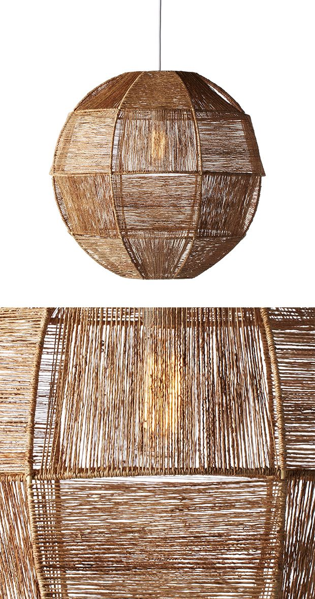 The Calisi Pendant Light delivers an intriguing look in a light fixture that works perfectly in both casual and mid-century modern décor. Its rounded shade is made from gorgeous twisted jute fabric str...  Find the Calisi Pendant Light, as seen in the Guest-Ready Home: Eclectic Bungalow Collection at http://dotandbo.com/collections/styleyourseason-guest-ready-home-eclectic-bungalow?utm_source=pinterest&utm_medium=organic&db_sku=113768