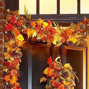 Colors Of Autumn Pre Lit 6 039 Fall Garland Porch Door Harvest Thanksgiving Decor Fall Door Decorations Fall Decor Fall Garland